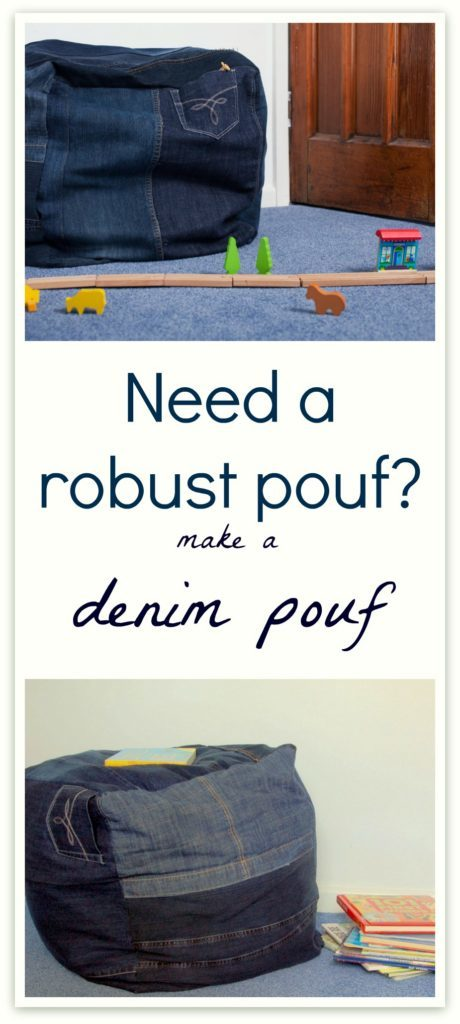 Use up old denim to create a robust foot pouf