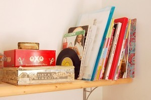 Storage tins, sewing studio ideas