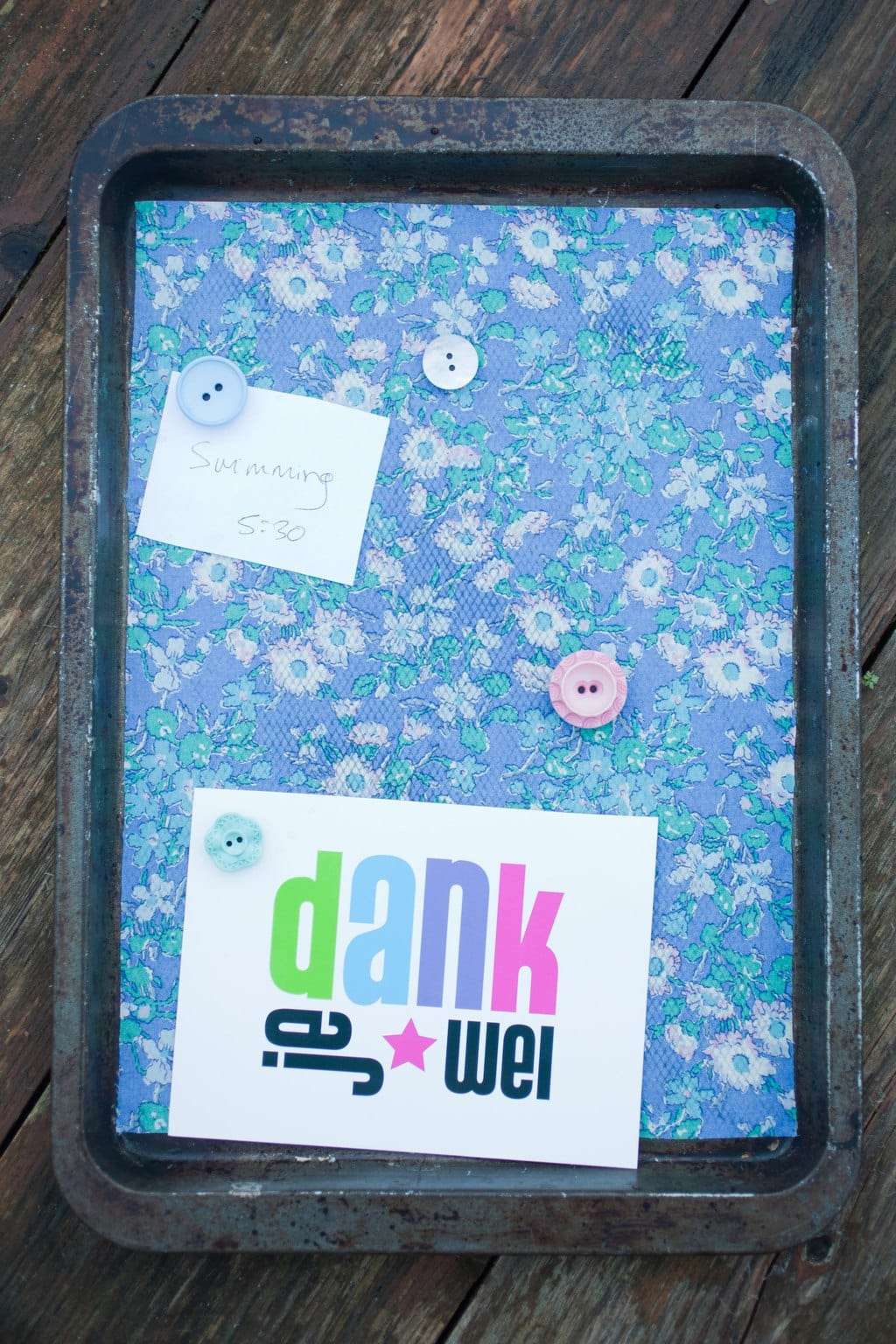 Upcycled Magnetic Baking Tray Notice Board 4