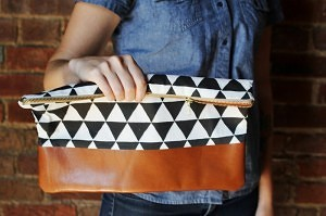 cotton & leather clutch