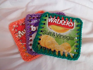 recycle crisp packets into coasters