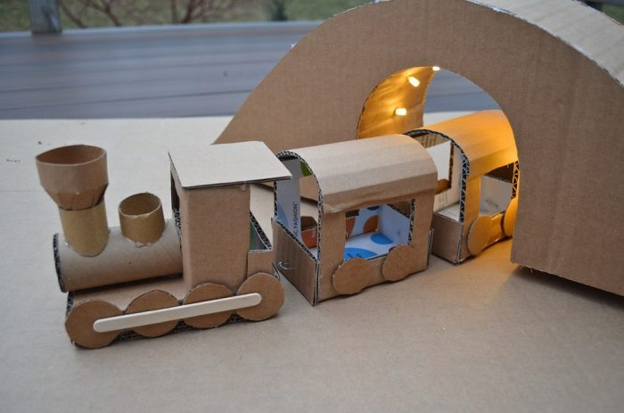 cardboard train ikat blog