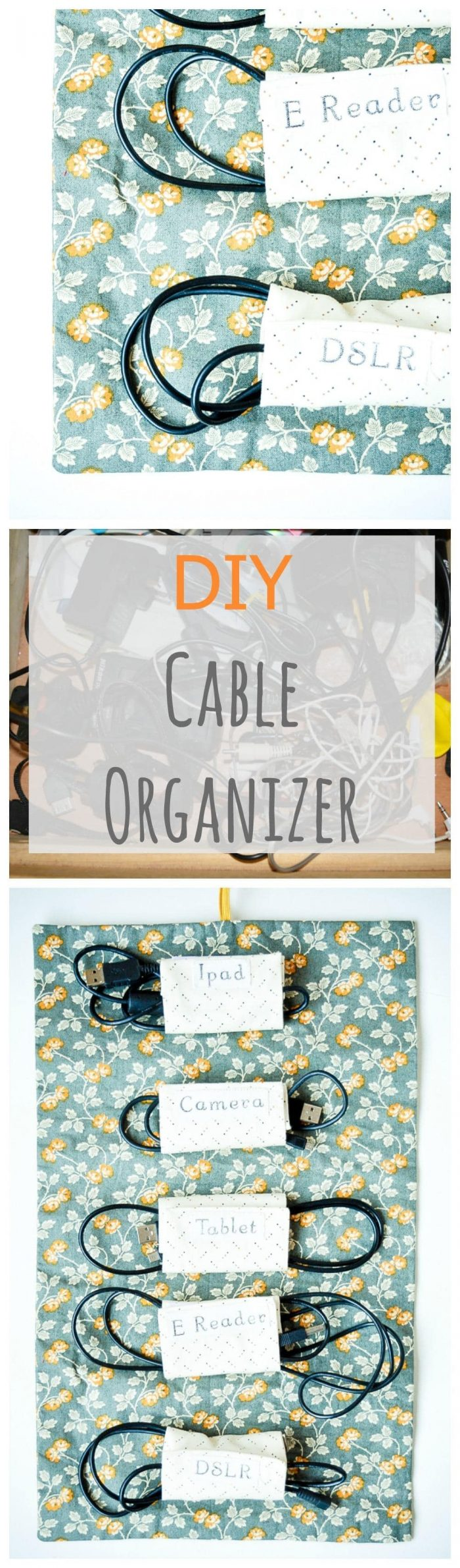 Fabric Cable Tidy, Cable Roll DIY 2