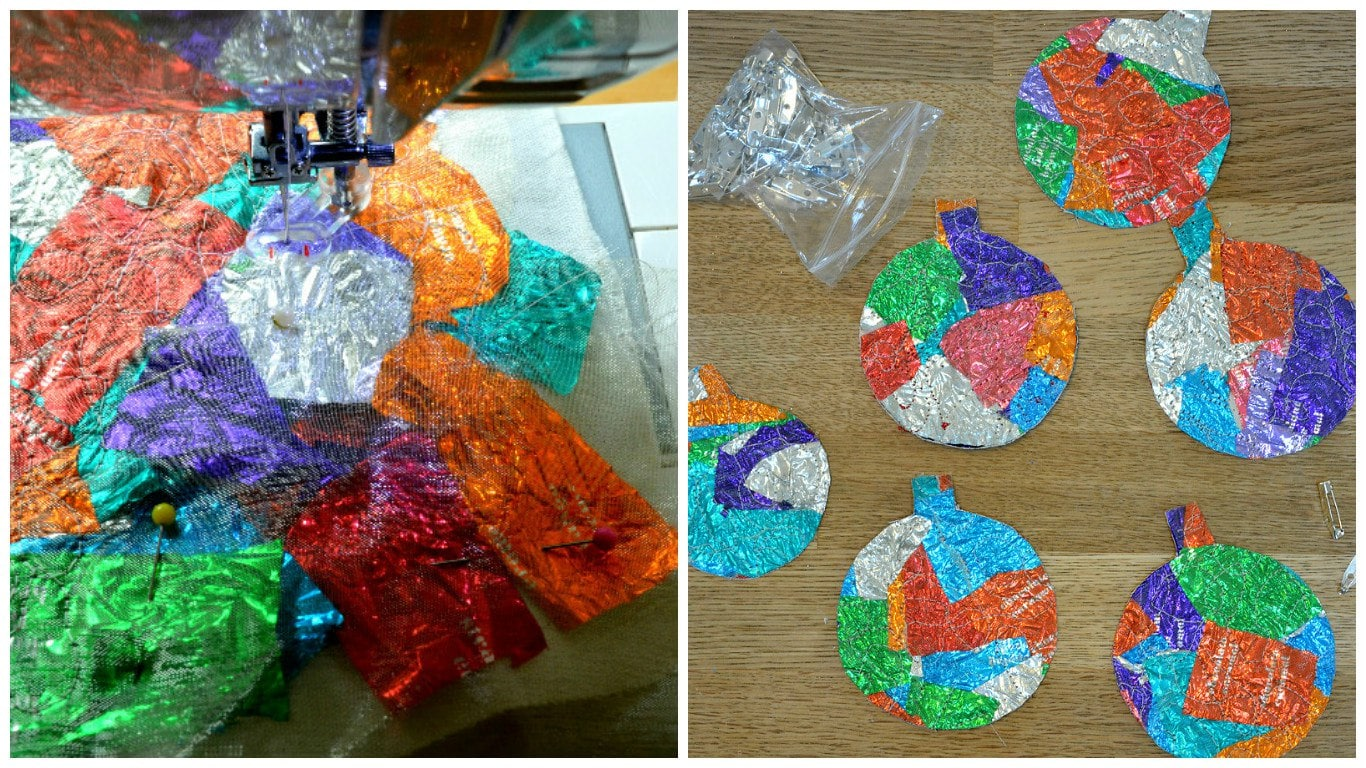 Sweet wrapper baubles, Homemade Ugly Christmas Sweater Ideas, DIY Christmas Jumpers