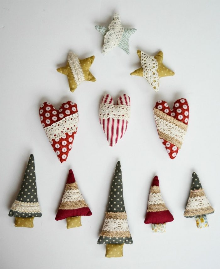 Rustic Fabric Christmas Decorations