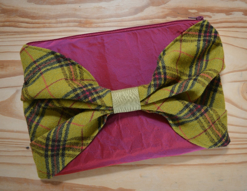 Twed and silk clutch bag, bow clutch made form upcycled materials