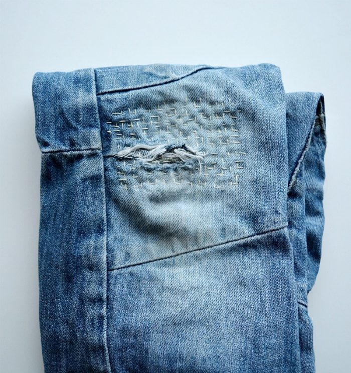Patchwork jean repair, sashiko repair