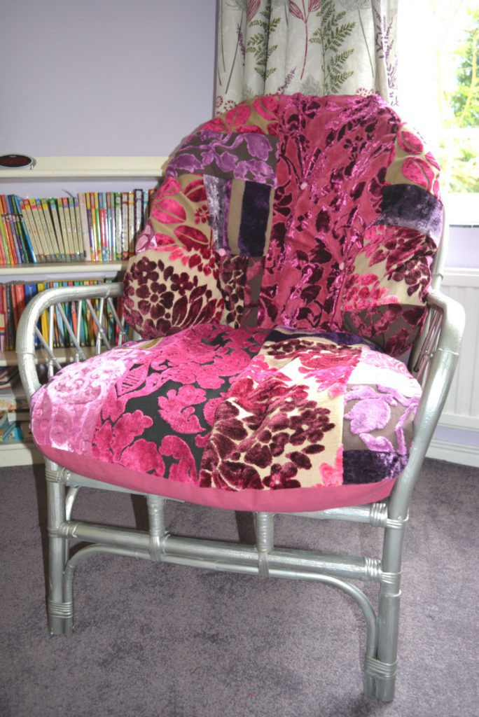 Reupholstered wicker chair, use upholstery fabric pieces to make a truly unique piece - tutorial