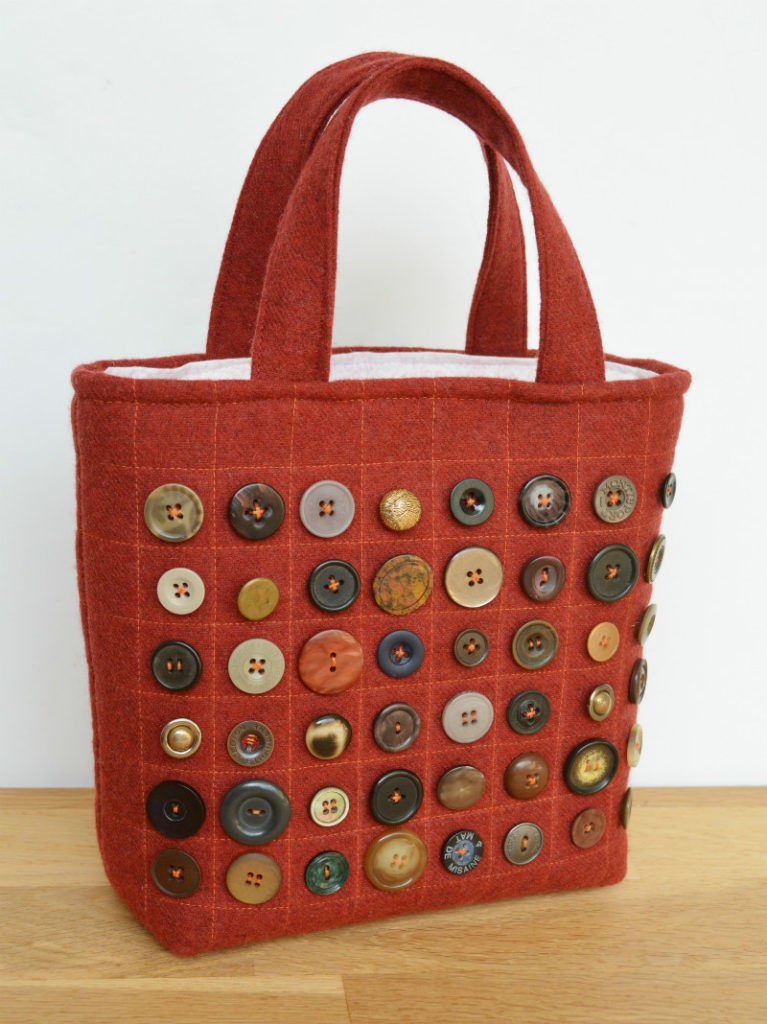 Wool Burgundy Tote Bag - step by step instructions to make your own
