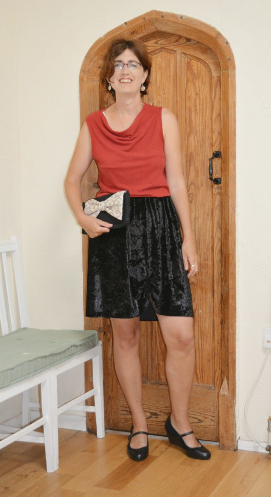 Have fun with refashioning old clothes. Refashion a velvet skirt into a short skirt with ruching.