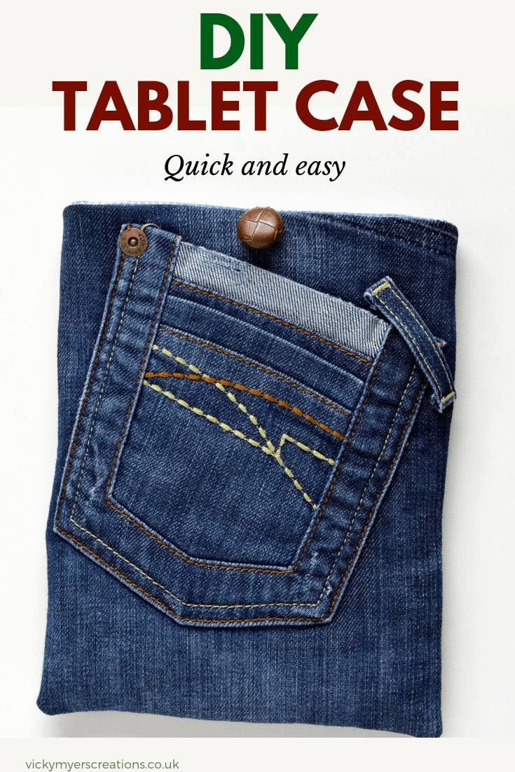 Learn how to make a denim tablet case the perfect fit for your tablet. Upcycle your jeans into a fun tablet cover #freesewingproject #DIYtabletcase