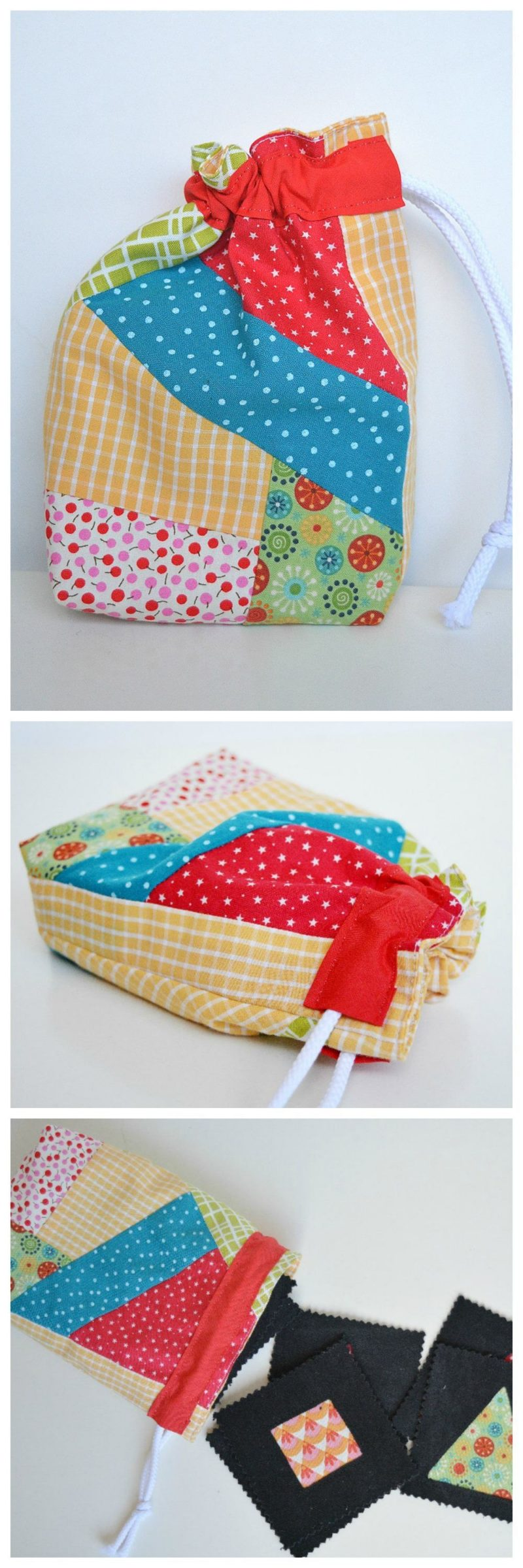 Fabric scraps as gift wrap - drawstring bag tutorial 6