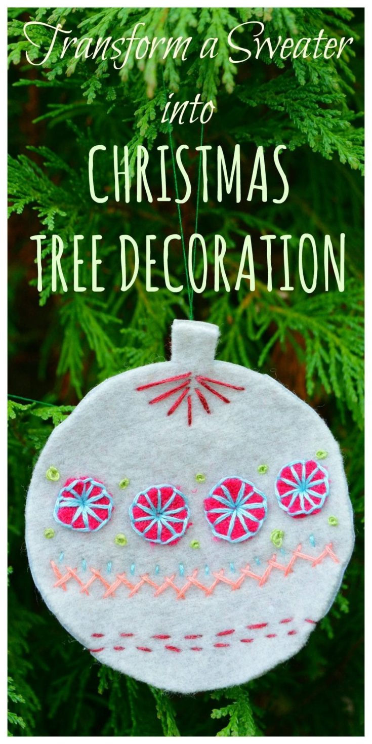 Recycled jumper transformed into Christmas decorations