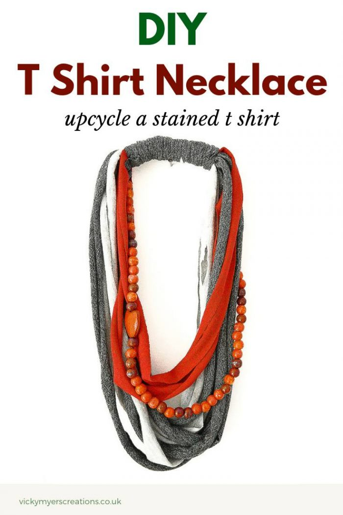 Learn how to upcycle a T Shirt into a necklace. This DIY project is a fun make for any age, learn how to make t shirt yarn. #recycletshirt #tshirtyarnproject #recycle #recycledproject #recycling #crafts #diy #doityourself #upcycle