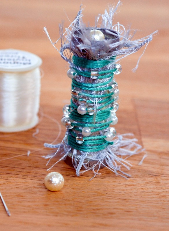 Recycle Plastic Cotton Reels - Upcycled Christmas Decoration 4