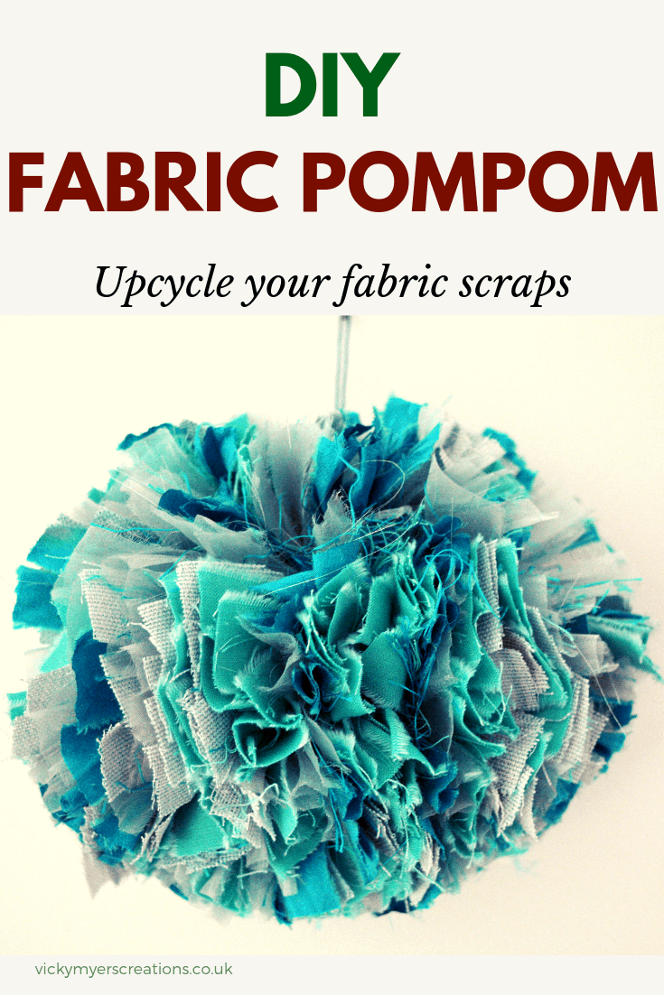 Far too many fabric scraps? learn how to make beautiful fabric pompoms. DIY fabric pompom #fabricpompom #DIYpompoms #Upcycle