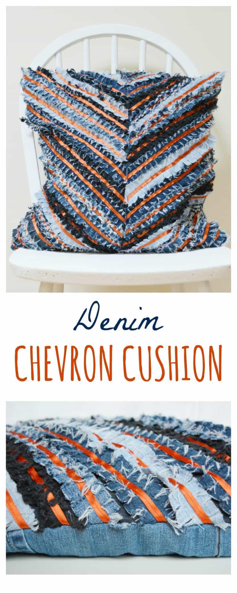 DIY Denim Cushion - Chevron 4