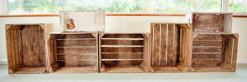 Apple crates as DIY Storage solutions