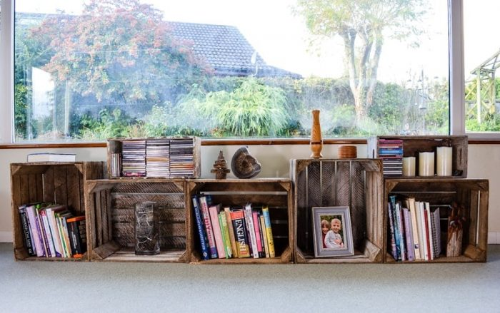 Apple crates as storage solutions 2