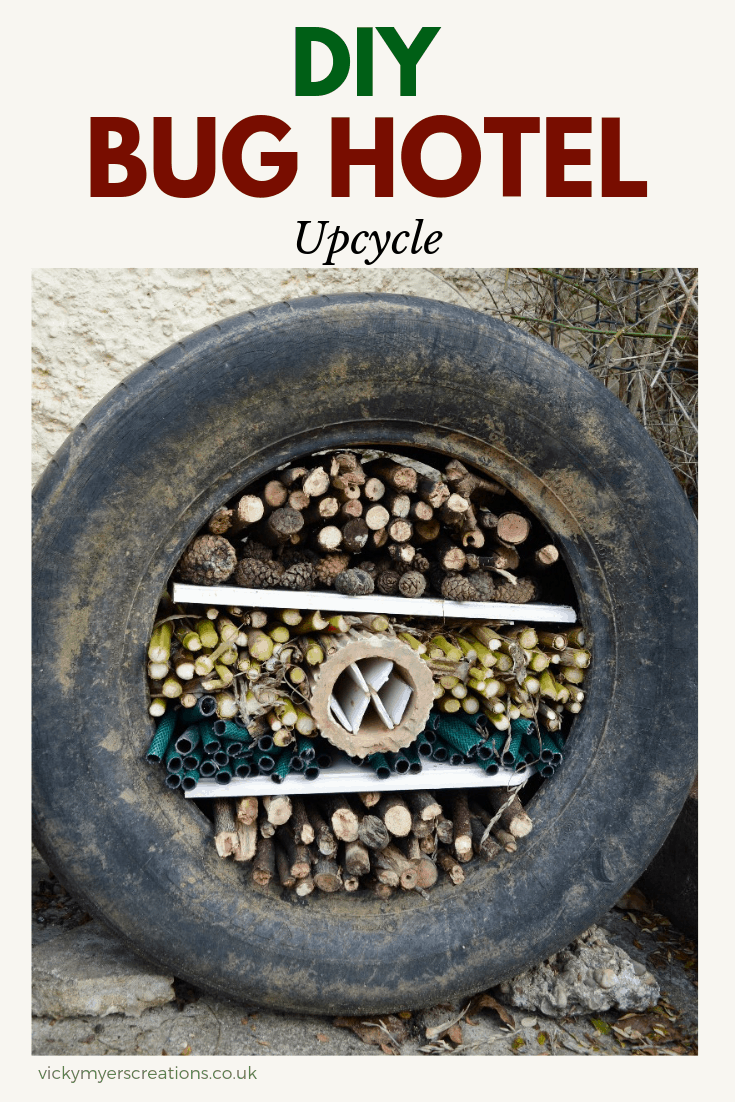 Learn how to make your own easy bug hotel with an old tyre and materials found around your garden, great activity to do with your kids #DIYBugHotel