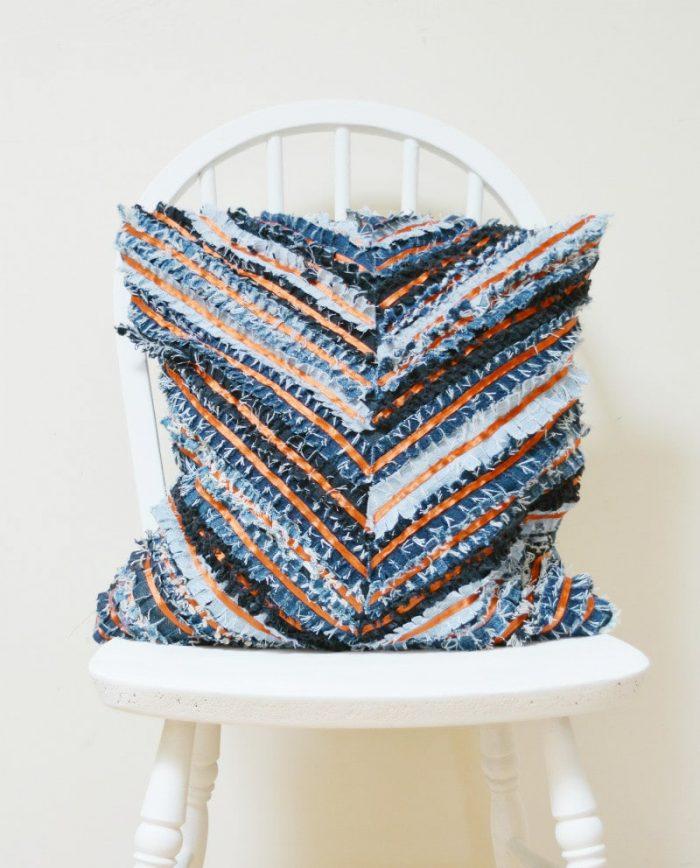 DIY Denim Cushion - Chevron 24