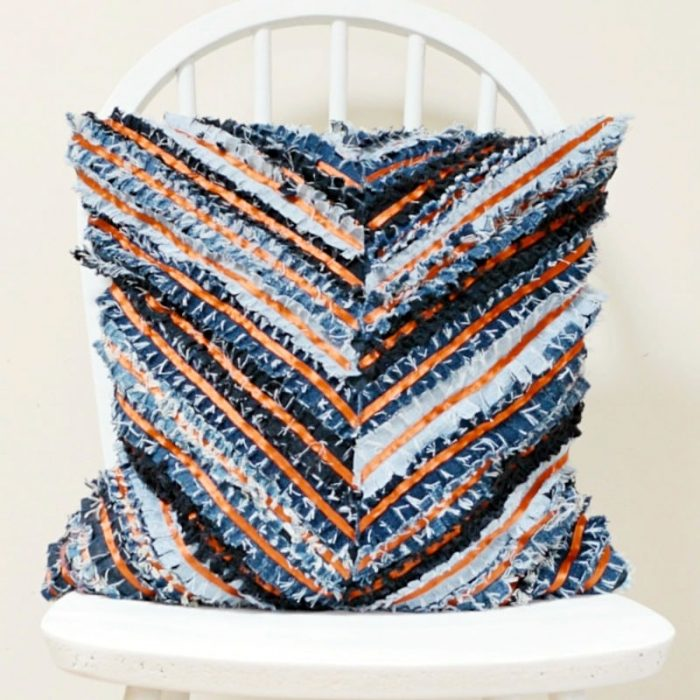DIY Denim Cushion - Chevron