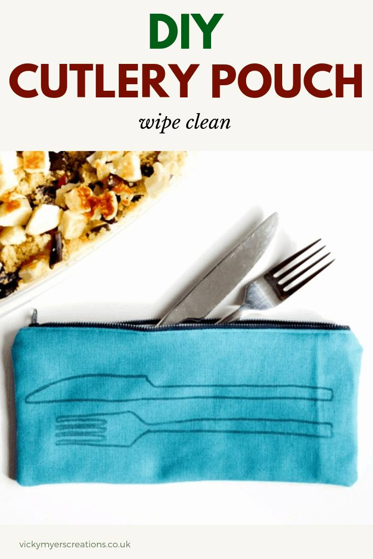 Learn how to make a cutlery pouch, perfect for picnics. This easy zip bag tutorial details how to quickly print the free download on fabric, and sew the cutlery pouch. #freepattern