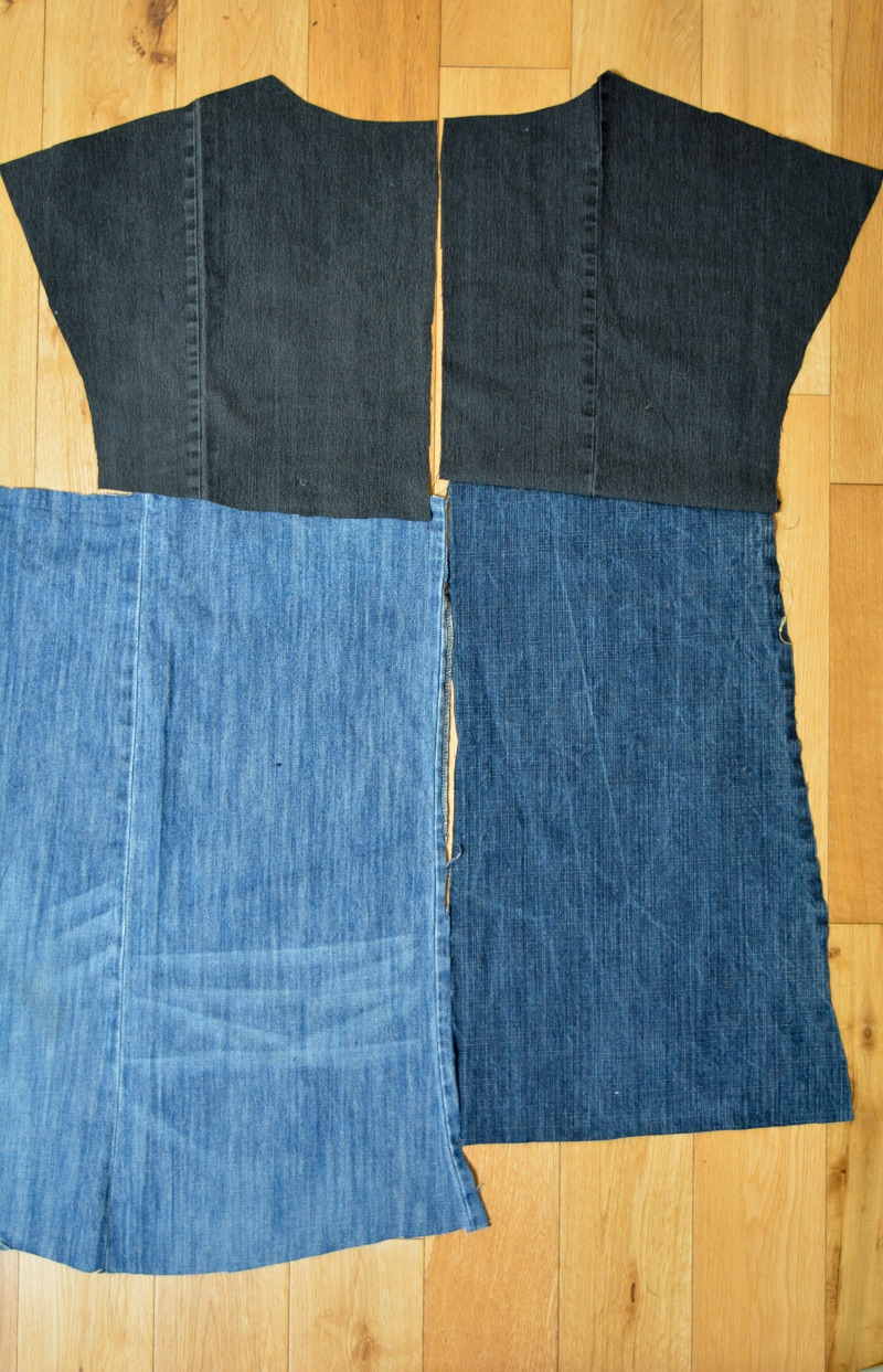 Upcycled Essential Denim Dress Pattern Review 4