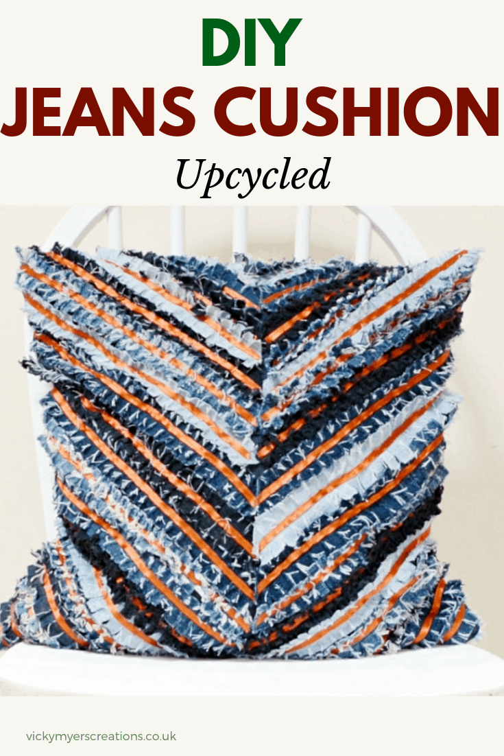 Learn how to make your own denim rag cushion - chevron cushion cover pattern. Upcycle your jeans by sewing up your own cushion cover with a zip closure #cushionsDIY #easyDIYcushioncover