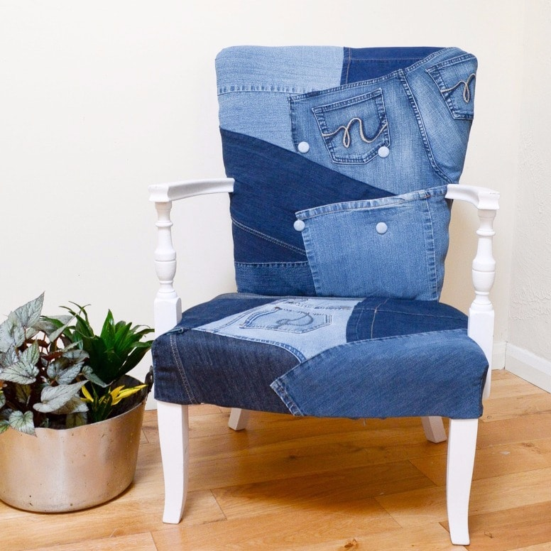 Denim Upcycled Bedroom Chair