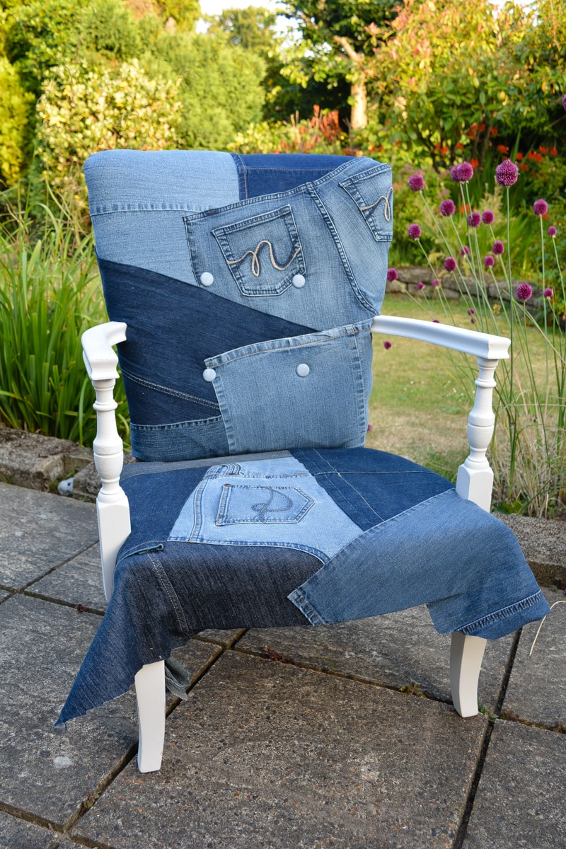 Denim Upcycled Bedroom Chair 24