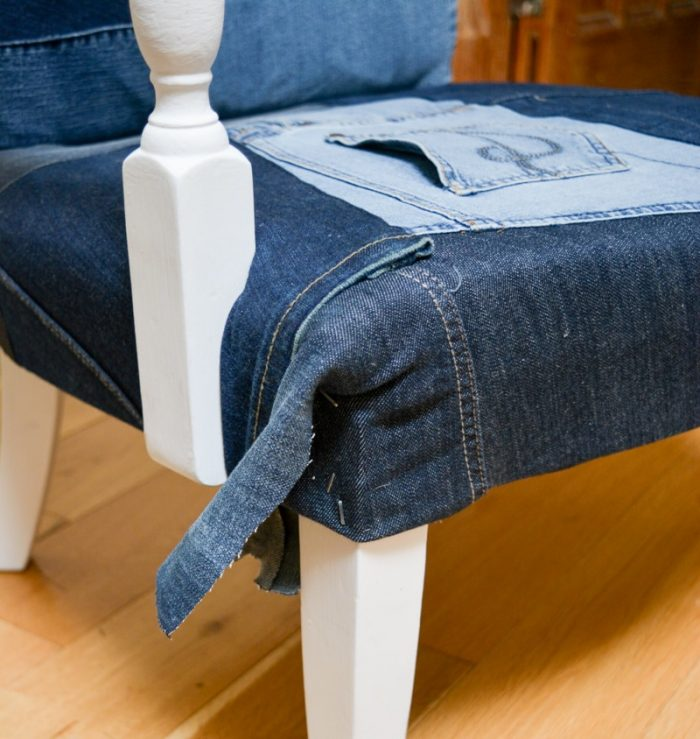 Denim Upcycled Bedroom Chair 34