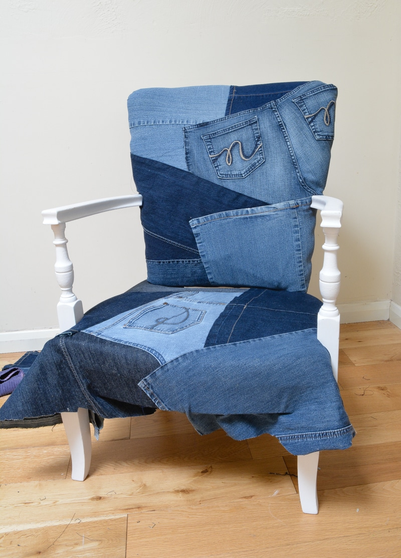 Denim Upcycled Bedroom Chair 22