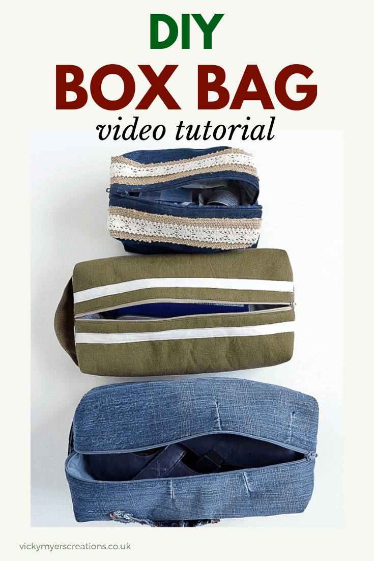 Free Box Bag pattern, Create your own lined box bags with both written DIY instructions and sewing video tutorial. Great DIY gift. #boxbagpattern #freesewingpattern