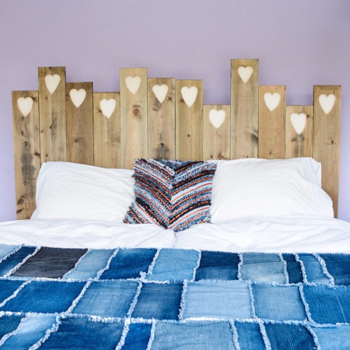 Easy DIY Headboard, transform old planks of wood into stylish headboard, tutorial