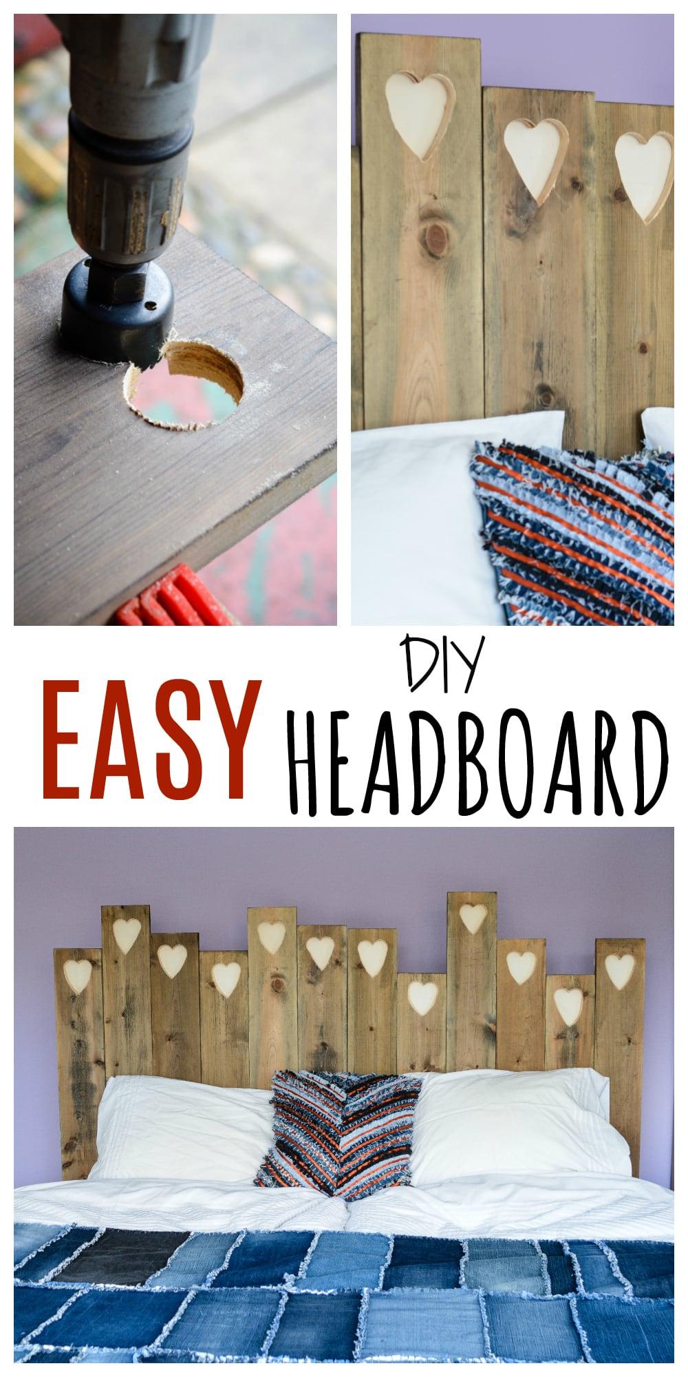 Easy DIY Headboard, transform old planks of wood into stylish headboard, tutorial