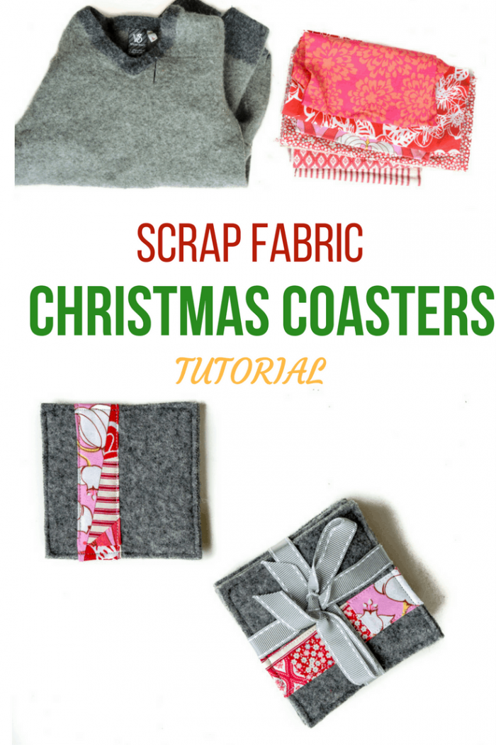 How to make old sweaters into scrap fabric coasters 20