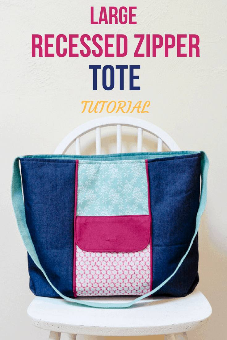 Large Recessed Zippered Tote Tutorial, Free Bag Pattern #largezippertote #largetotebag