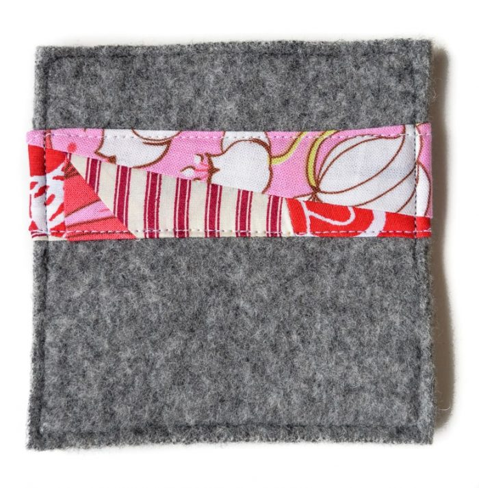 How to make old sweaters into scrap fabric coasters 16