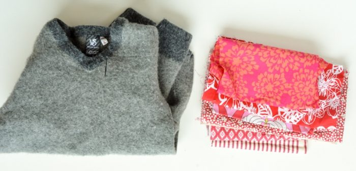 How to make old sweaters into scrap fabric coasters 4