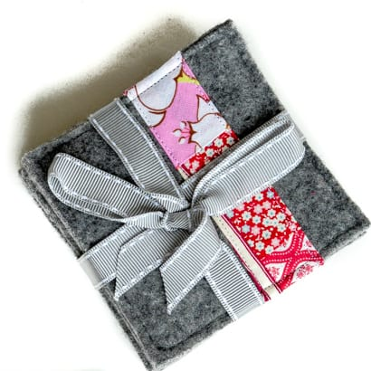 How to make old sweaters into scrap fabric coasters