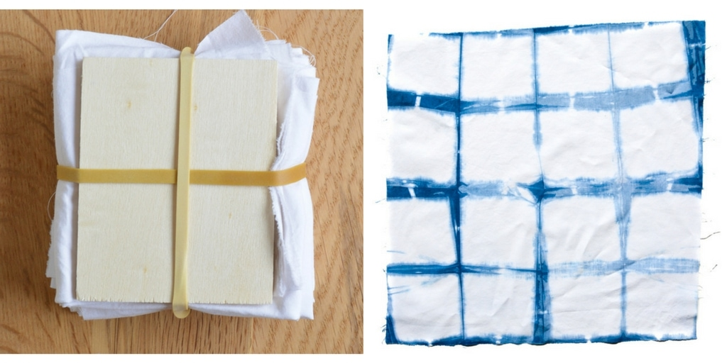 Fabric folded, and then folded into squares. Wooden squares held in place by rubber bands.