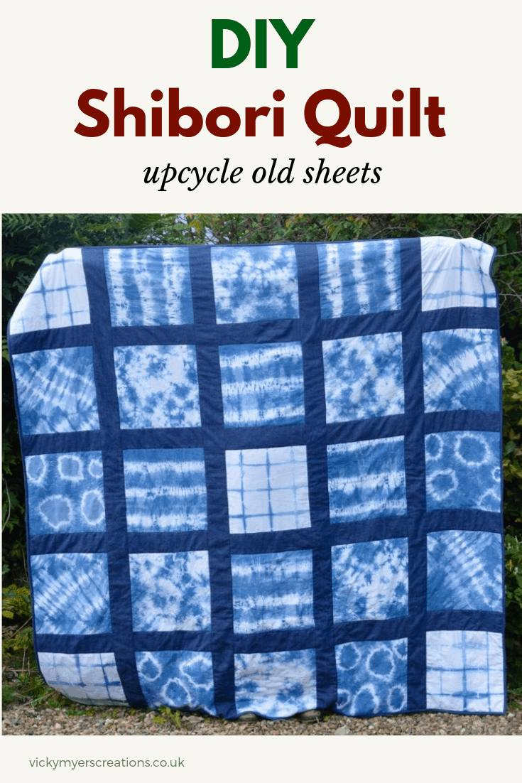 Have fun learning how to make a variety of patterns with indigo dye. with shibori techniques. Create this shibori quilt by upcycling old sheets, step by step tutorial #sewing #quilt #shibori #diy #upcycle