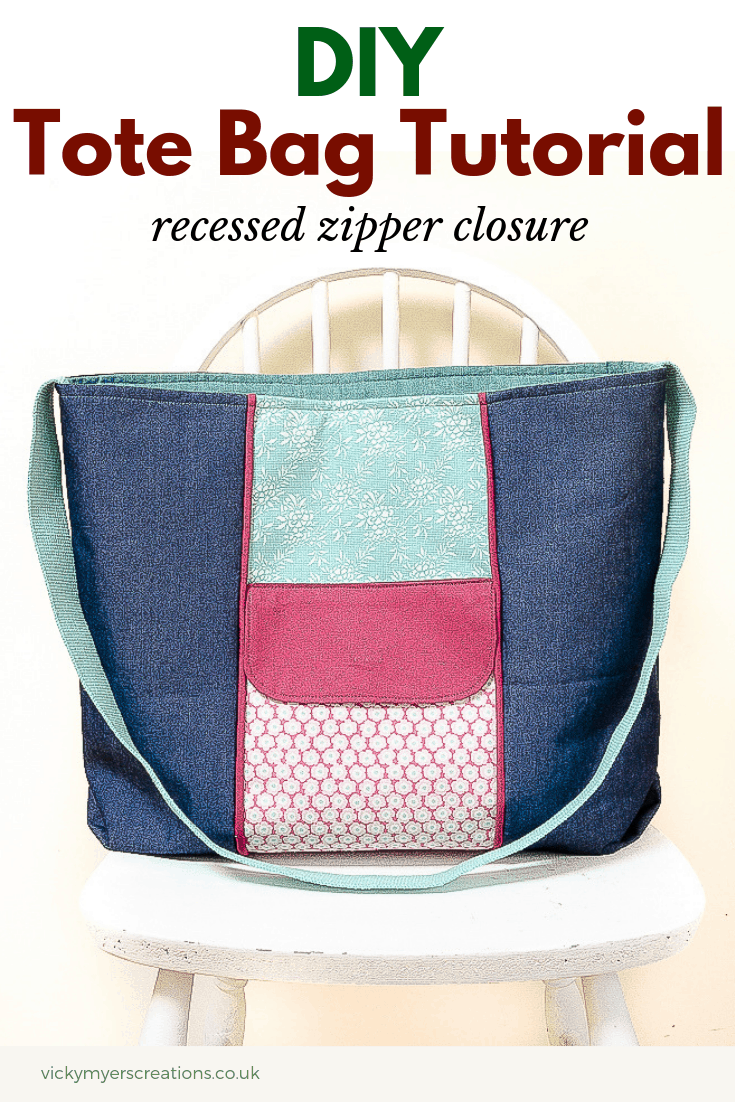 Looking to sew up a super roomy tote bag? This free sewing tutorial features a recessed zipper plus a fabulous external pocket perfect for keys and mobile. What's not to love with this free pattern? #sew #bagpattern #totebag #sewingproject