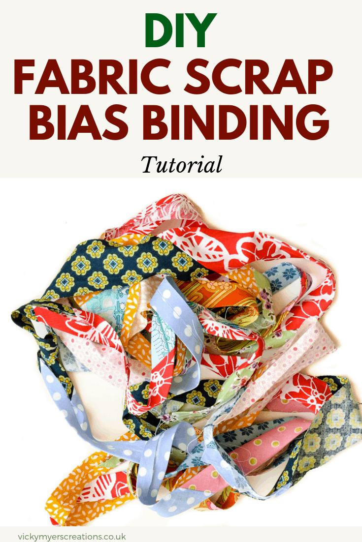 How to make fabric scrap bias binding, DIY fabric bias binding - Tutorial #DIYbiasbinding