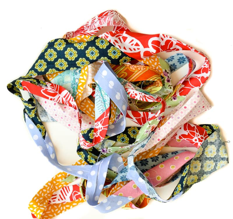 Update old towels with scrap fabric bias binding 14