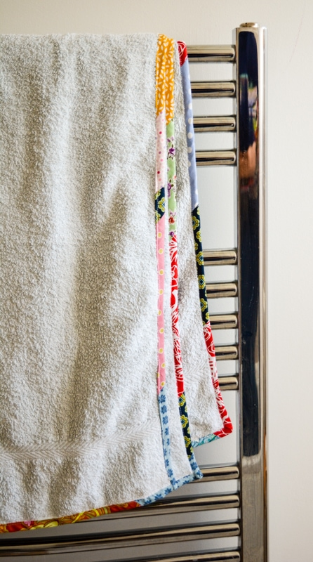Update old towels with scrap fabric bias binding 26