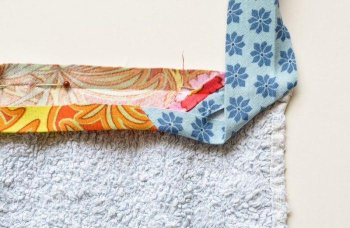 Update old towels with scrap fabric bias binding 18