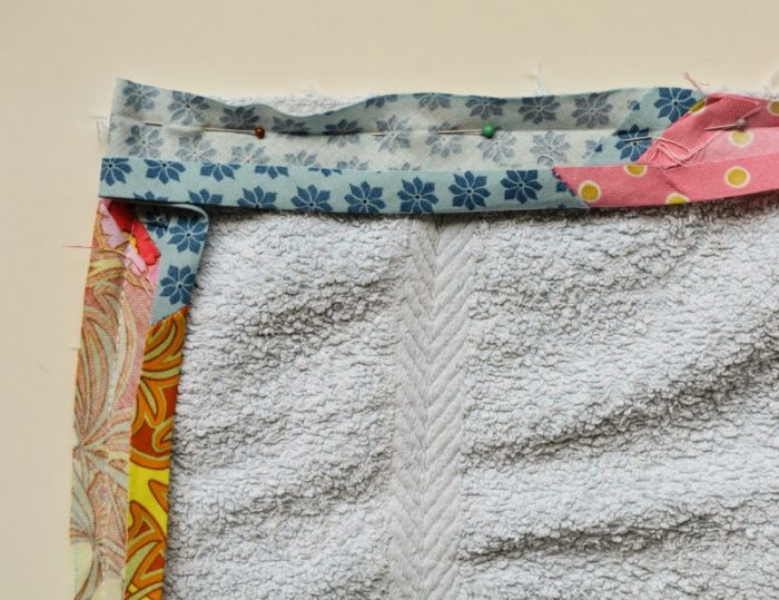 Update old towels with scrap fabric bias binding 20