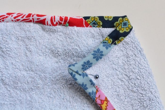 Update old towels with scrap fabric bias binding 24